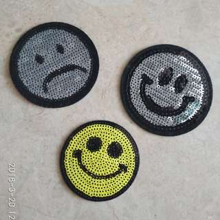 Sew On Sequins Patch - Emoticon Smiling Sad Face