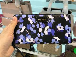 Kate spade WLRU3002紫色印花拉鍊長銀包