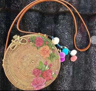 floral rattan bag