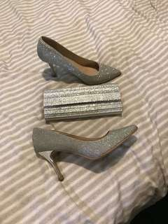 Silver heels and witchery clutch