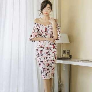 Cold Shoulder / Off Shoulder Floral Bodycon Dress
