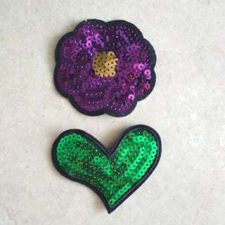 Sew On sequins Patch - Green Heart and Purple Flower