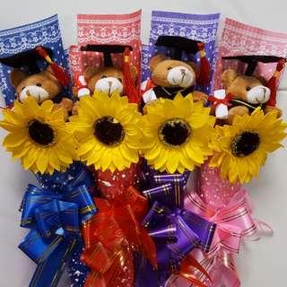 Graduation Bear with Sunflower