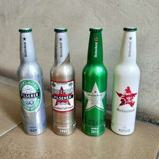 Collectibles 4 Heineken Aluminum bottles with 5% alcohol