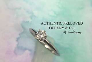 Authentic Tiffany & Co. Solitaire Diamond Platinum Ring 0.23ct #4.5