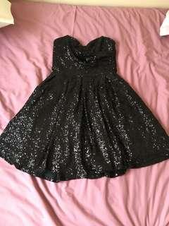 Black sequin strapless dress