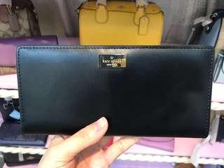 Kate spade WLRU2765 黑色牛皮/桃紅色長薄銀包