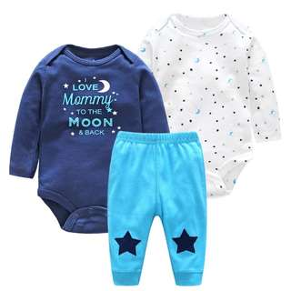 """I Love Mummy"" 3-Piece Set for Baby Boys from 0-24 month"