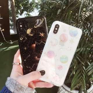 閃粉星空月球iPhone 7plus case全包軟殼個性情侶款