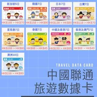 中國聯通旅遊數據卡電話卡