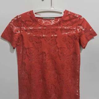 Lace Butterfly Top (Red)