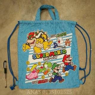 Original Nintendo Super Mario Bros Drawstring Tote Bag