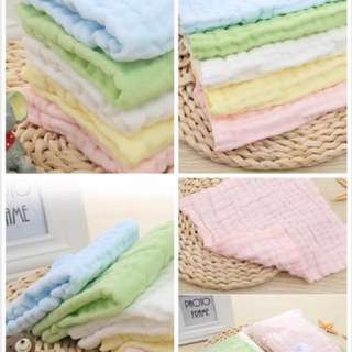 🌈(Ready Stock) 💯Brand New in Pack 5 Pieces 6-Layers Muslin Gauze 100% Cotton Square Handkerchief, 5 colours, 28cmx28cm each