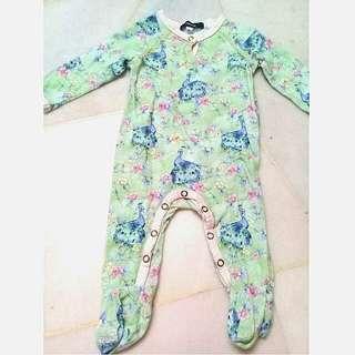 Size 00 (6M) Peacock print Sleepsuit
