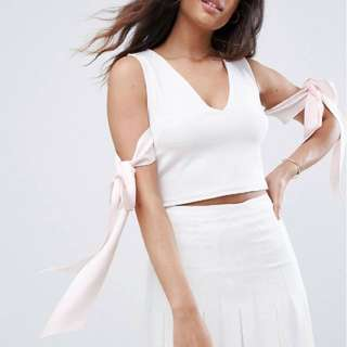 BNWT ASOS Scuba Plunge Neck and Bow Detail Top in Light Pink UK 12
