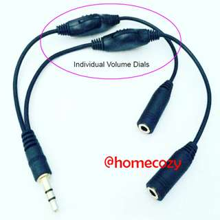 (BN) 3.5mm Jack Audio Splitter With Individual Volume Control Dials (Brand New)