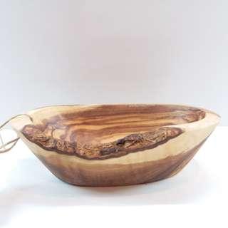 意大利製實心橄欖木船形碗(碟) /  Italian Made Solid Olive Wood Boat Shaped Bowl (Dish)