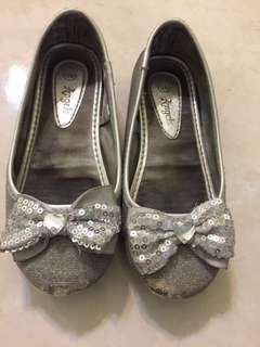 🆓📮GIRLS SHOES BALLERINA SILVER SPARKLE SIZE 10