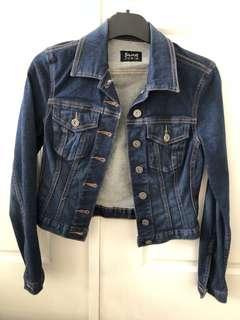 Dark blue denim jacket bardot size 6