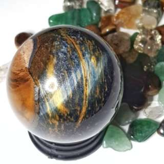 Hawk's Eye / Blue Tiger Eye Ball Sphere with stand for Good Luck 蓝虎眼球 好运 水晶