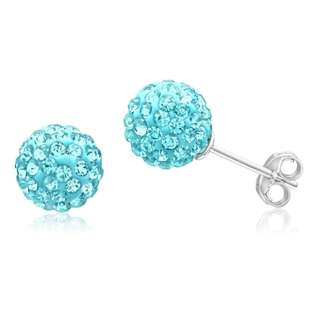 Shiels Silver & Crystal Blue Stud Earrings