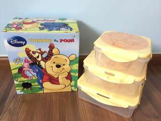 Winnie The Pooh Air Tight Plastic Containers