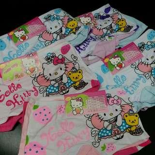 HK$15/2Pcs, HK$40/4Pcs ~ New Hello Kitty Cotton Under Wear for Kids 全新全棉4至5歲女童內褲 1組2件