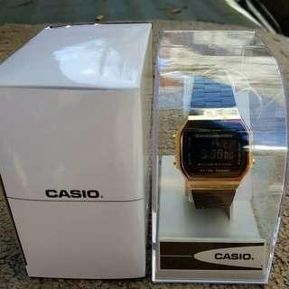 Casio Vintage Retro Black and Gold watch