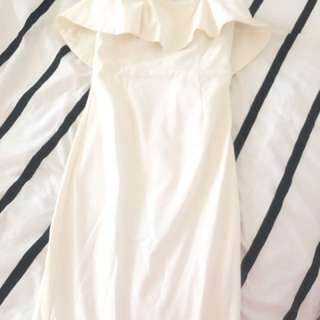 Bardot frill dress size 8 white ivory