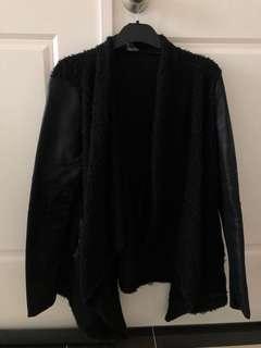 Black waterfall jacket bardot leather sleeves size 6