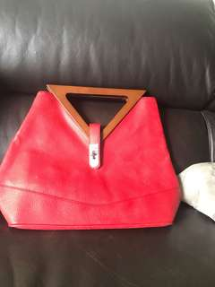[INSTOCK] Red V Wooden Handle Bag