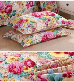 純棉花卉圖案枕頭套 10款選 48X74CM $68/對;$128/2對