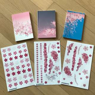 Limited Edition Starbucks Korea Petal Notebooks and Stickers Set