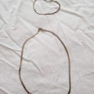 silver set necklace and bracelet 925 probe