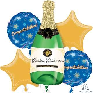 Bubbly Wine Balloon Bouquet (Helium w/ Weight) (Item #: 14855)