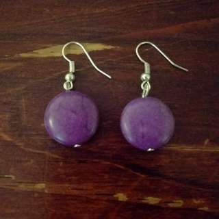 Handmade Purple Drop Earrings