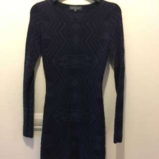 Navy Fitted Knit Dress