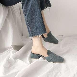 質感100% 可兩穿超美湖水綠低跟繫帶鞋/拖鞋
