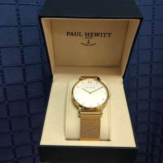 正品 paul hewitt 市面少有純金色手錶