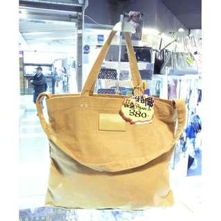 Agnes b Brown Yellow Canvas Shoulder Tote Hand Bag 啡黃色 土黃色 帆布 手挽袋 手袋 肩袋 袋 購物袋