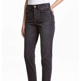 vintage fit crop high waisted jeans