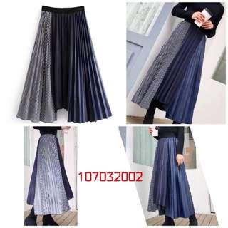 [107032002]異材質異色調拼接不規則長裙