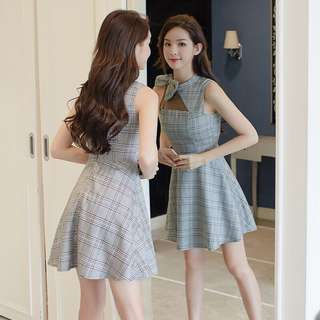 Mesh Checked Ribbon Bow Skater Dress