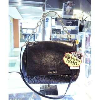 Miu Miu Black Leather Shoulder Hand Bag MiuMiu 繆繆 黑色 皮革 真皮 鍊袋 手挽袋 手袋 肩袋 袋