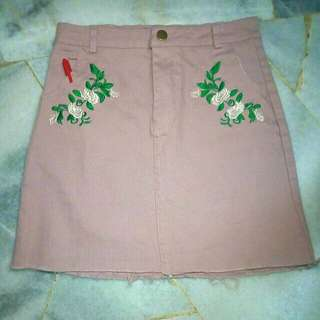 +pos BN! Pale Pink Embroidered Skirt