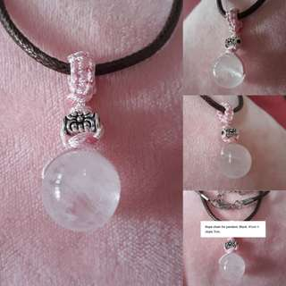 🏵Madagasca Rose quartz pendant(马粉晶吊坠) set in Macrame with silver spacer, Simple and nice. Bead size 14mm. Include Rope chain.