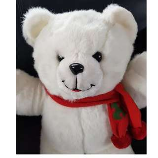 TEDDY BEAR WHITE WITH RED SCARF