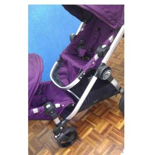 8成新美國Baby Jogger City Select 雙人嬰兒/娃娃推車(銀管+亮紫)