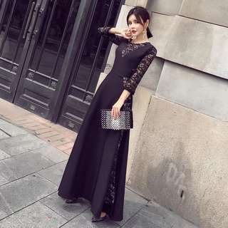 Lace Deep V Neck Long Sleeve Maxi Skater Dress