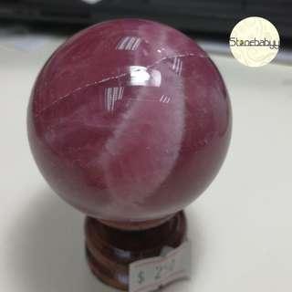 Madagscar Rose Quartz 馬粉晶球46mm 風水擺設